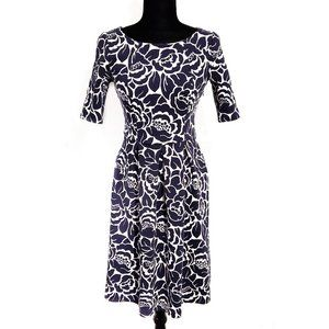Boden Blue and White Floral Print Dress Size 6